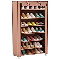 UDEAR 8 Tiers Shoe Rack Storage Organizer Shelf Shoe Cabinet Stand with Fabric Dustproof Cover for 21 Pairs of Shoes (Brown)60 x 30 x 126 CM