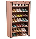 UDEAR Shoe Rack Storage Organizer Shelf Shoe Cabinet Stand with Fabric Dustproof Cover 8 Tiers for 21 Pairs of Shoes (Brown) 60 x 30 x 126 CM