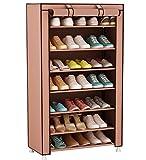 UDEAR Armario para Zapatos de Tela Shoes Rack Zapato del gabinete Zapatero estantería Marrón
