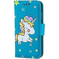 iPhone 5/5s/5se hülle Einhorn Serie Lederbezug mit Wallet Card Slot Funktion und funkelnden Glitter Star-Muster handyhülle.-blau-01
