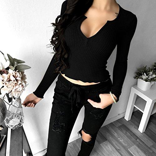 WanYang Donna Slim Sexy T-shirt A Maniche Lunghe Maglione Con Scollo A V In Tinta Unita Moda Casual Felpa Blusa Nero