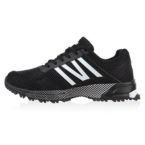 Profilsohle Schwarz Runners Gepunktet Damen Laufschuhe Weiss Schuhe Sneaker w46cFxHq