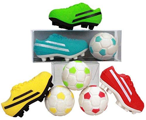 Fußball Radiergummi Set / 2 Radierer (1 Ball + 1 Schuh) / Farbe: gelb