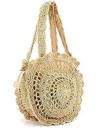 Papaxiong Verano mujeres ronda playa paja bandolera bolso bolso crochet