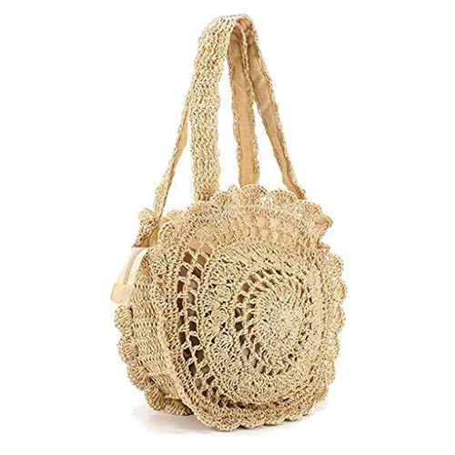 Femmes d'été rondes plage de paille sac à main sac crochet (Belge)