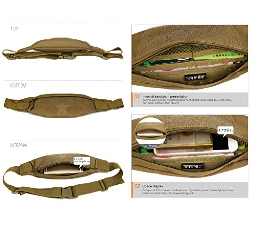 Outdoor Molle Taktisch Gürteltasche Bauchtasche Gürtelbeutel mit Kopfhöreranlass für Handy bis 6 Zoll Sport Taschen von Flyhawk,8 Farbe Y115-Sand Digital