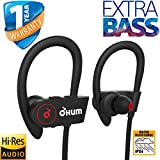 OHUM Sports Waterproof Wireless Bluetooth Earphones with Stereo Sound and Hands-Free Mic (Black)