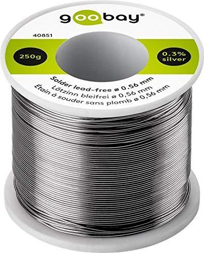 Goobay 40851 – Hilo de estaño para soldar (sin plomo, 0,56 mm de diámetro, 250 g, con un porcentaje de plata de 0, 3%)