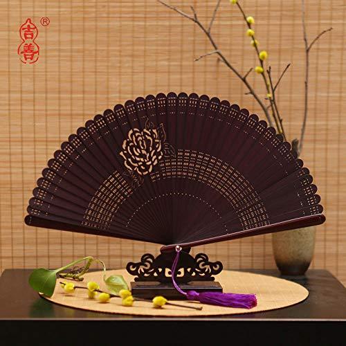 plzxy Chinesischen Stil voller Bambus Fan Carving Hohlfächer Alten Stil Damen Faltfächer Handwerk Fan Geschenk Fan@Promi Fan Wein Rot - Kostüm Der Promis