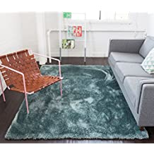 Shimmer Shag Ocean Blue Solid Plain Modern Luster Ultra Thick Soft Plush Area Rug 100 x 150 cm ( 3'3'' x 5' ft ) Contemporary Retro Polyester Textured Two Length 5 cm Pile Yarn Easy Clean Stain Fade Resistant