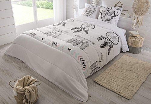 Edredón con motivo de atrapasueños en blanco y negro, de 220x 240cm, gama muy cálida (550g/m²) y tacto de piel de melocotón