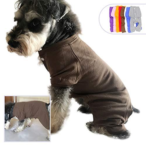 lovelonglong 2019 Haustierkostüm, Pyjama für kleine Hunde, 100% Baumwolle, 4 Beine, Jumpsuit Teddy, 122 cm, L (small Dog), Coffee (Die Besten Kostüme Für Jungen 2019)