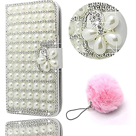 (2017 Version) Galaxy A5 Case,Galaxy A5 Bling Case,Galaxy A5 Cover,Vandot PU Leather Stand Magnetic Flip Wallet Case Anti-Scratch Luxury Handmade 3D Diamond Pearl Glossy Cover Case for Samsung Galaxy A5 2017 A520F-White+Furry Pompom Pendent
