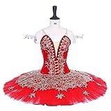 QSEFT White Swan Lake Ballett Tutu Kostüme Ballett Tutu Professional Child/Adult Das Schneekönigin Ballett Kostüm,Red,Childsize14