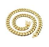 Epinki Acero Inoxidable 14MM Cadena Collar para Hombre Oro Bordillo Cadena Cadena para Hombre Colgante Collar Largoitud 71CM