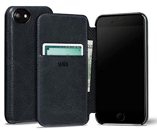 Sena Ultra Thin Wallet Book Schutzhülle für Apple iPhone 7 – cognac-parent denim