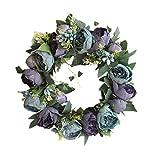Yuccer Deko-Kranz, Künstlicher Kranz Türkranz Frühling Sommer Handgefertigte Blumenkranz Kränze Hochzeit Feste (Blau)