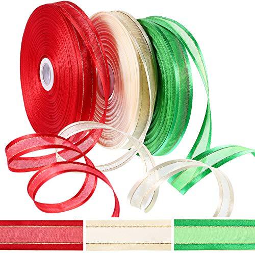 150 Yard Christmas Sheer Organzaband mit Satin Edge Rot Grün und Elfenbein 50 Yard pro Rolle Dekorative Bänder für Geschenkpapier 50 Yard Organza Satin