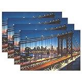 XiangHeFu Tischsets York City Beautiful Sunset Manhattan 30,5 x 45,7 cm 1 Stück Rutschfest hitzebeständig Esstisch, Polyester-Mischgewebe, Image 241, 12x18x1 in