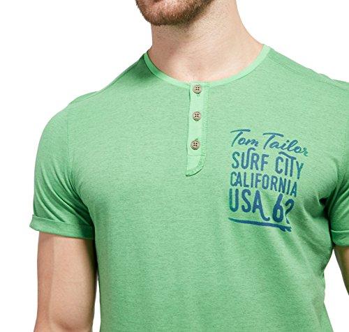Tom Tailor für Männer T-Shirt T-Shirt mit Print und Knopfleiste green macaws