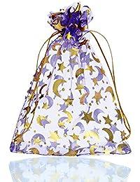 HooAMI 25pcs Purple Drawstring Organza Wedding Favour Bags Jewellery Pouches Large Size 13cm x18cm