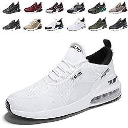 Zapatillas de Deportes Hombre Mujer Zapatos Deportivos Aire Libre para Correr Calzado Sneakers Running 9White42EU