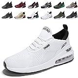 populalar - Scarpe da corsa, da uomo e da donna, scarpe da ginnastica, sneaker traspiranti, per corsa, fitness, palestra, outdoor, leggere., Bianco (9 bianco), 42 EU