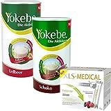 Yokebe 2er Pack Erdbeer, Schoko (2 x 500 g) und XLS-Medical Direct Sticks, 1er Pack (1 x 90 Stück)