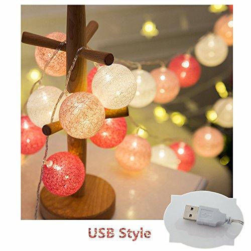 LED Lichterkette mit Baumwollkugeln, Morbuy 6cm Kugeln Mit 20 Bällen 4M USB Deko Licht Festlich Hochzeiten Geburtstag Party Cotton Ball Themen Weihnachten Lichterkette Dekorative (Zauber)