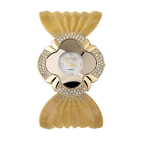 Damenuhren Quadrat Blume Strass Analog Armbanduhren für Damen Breit Mesh-Band Edelstahl Uhrenband, Gold