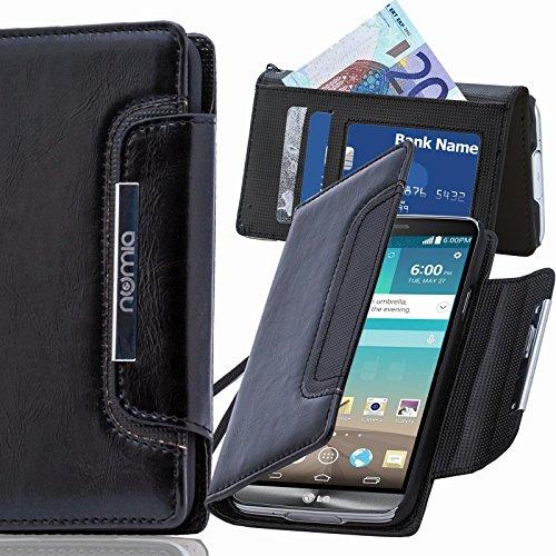 LG X Screen Hülle, numia Handyhülle Handy Schutzhülle [Book-Style Handytasche mit Standfunktion und Kartenfach] Pu Leder Tasche für LG X Screen Case Cover [Schwarz]