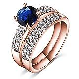 AMDXD Schmuck Rose Vergoldet Ring Damen Doppelbandring Zirkonia Blau Rosegold Damenringe Größe 57 (18.1)