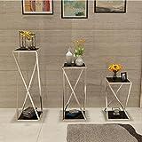 ZX Edelstahl Blumenregal Wohnzimmer Boden Typ Mehrschichtige Zimmer Innenraum Blume Messestand Dekorative Accessoires (Farbe : Silber, größe : L)