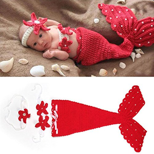 ng Neugeborene Baby Kostüm Tier Meerjungfrau Seejungfrau Fotografie Requisiten Set (Rot) (Baby Kostüme)