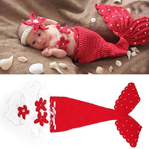 HENGSONG Foto-Shooting Neugeborene Baby Kostüm Tier Meerjungfrau Seejungfrau Fotografie Requisiten Set (Rot) (Baby Kostüme)