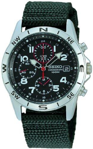 Seiko - SND399P1 - Quartz - Montre Mixte - Quartz Chronographe - Cadran Noir - Bracelet Tissu Noir