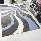 VIMODA Moderner Teppich Design, Gestreift Wellen Muster Handgeschnittene Konturen, ÖKO TEX Zertifiziert, Farbe Blau Grau Weiß, Maße:200x290 cm