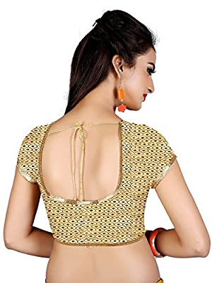 Spangel Fashion Round Neck Women's Ready Made Saree's Blouse