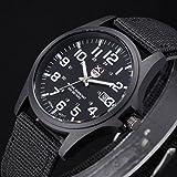 Fenkoo, orologio da polso, da uomo/donna/bambini sportivo/militare, al quarzo, brilla al buio, cinturino in tessuto, nero