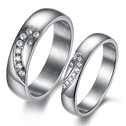 GirlZ! Silver Platinum Plated Puzzle Heart Rhinestone Couple Rings for Men And Women