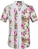 SSLR Camisas Manga Corta Hombre Casual Estampada Flores Ajustado (X-Large, Rosa (168-169))