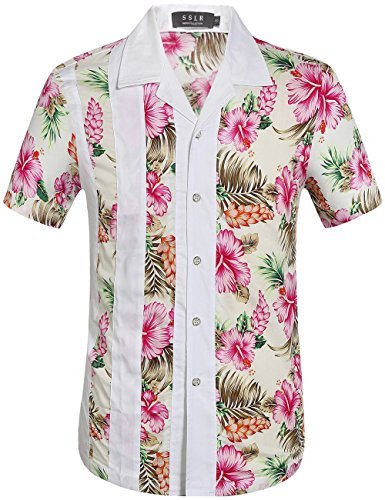 SSLR Herren Blumen Baumwolle Freizeit Regular Fit Button Down Kurzarm Hemd (Medium, Rosa (168-169))