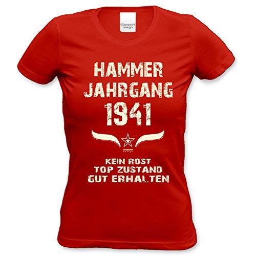 75.Geburtstag-Damen-Mädchen-Happy-Birthday Fun-Girlie-T-Shirt Geschenk mit Sprüche-Motiv: Hammer Jahrgang 1941 Farbe: rot Rot