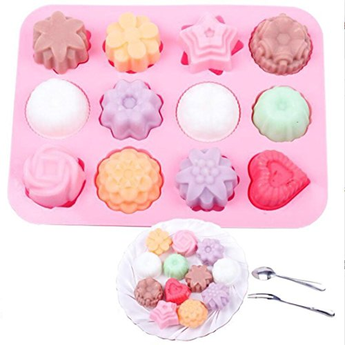 samLIKE Silicone 3D Cute Chocolate Cake Candy Baking Mould Baking Pan Tray Soap Mold for Kids gift (Pink)