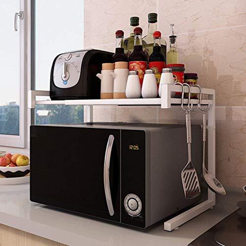 LIN HE SHOP Support de Four à Micro-Ondes, étagère pour Four de comptoir de Cuisine, étagère de Micro-Ondes en métal Stable, 2 Niveaux abjustables, pour l'organisation de la Cuisine (Couleur : Blanc)