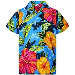 V.H.O. Funky Camisa Hawaiana, BigFlower, Lightblue, L