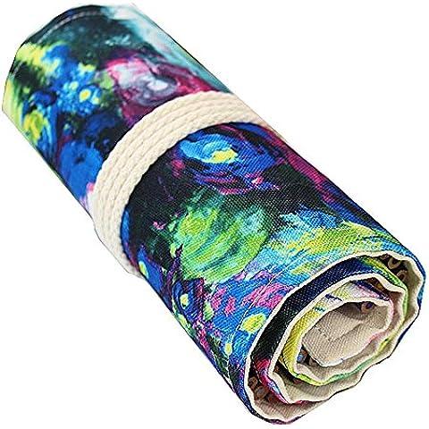 Grande capacità materiale Retro tela tessuto corda sistema studente matita borsa leggero elegante può essere lavato kit cancelleria scuola pratica , ???36?