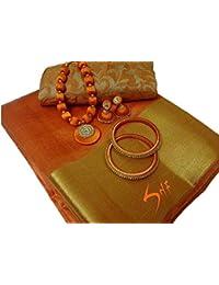 Fabattic Women's Tassar Silk Saree With Blouse Piece (Chi148, Orange Free Size)