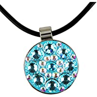 Pinmei Golfball-Marker mit Lederhalsband, magnetisch, mit Kristallschmucksteinen besetzt