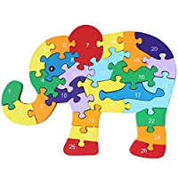 MEGA Wooden Animal Alphabet & Numbers Jigsaw Puzzle Children Learning Cognitive Building Blocks